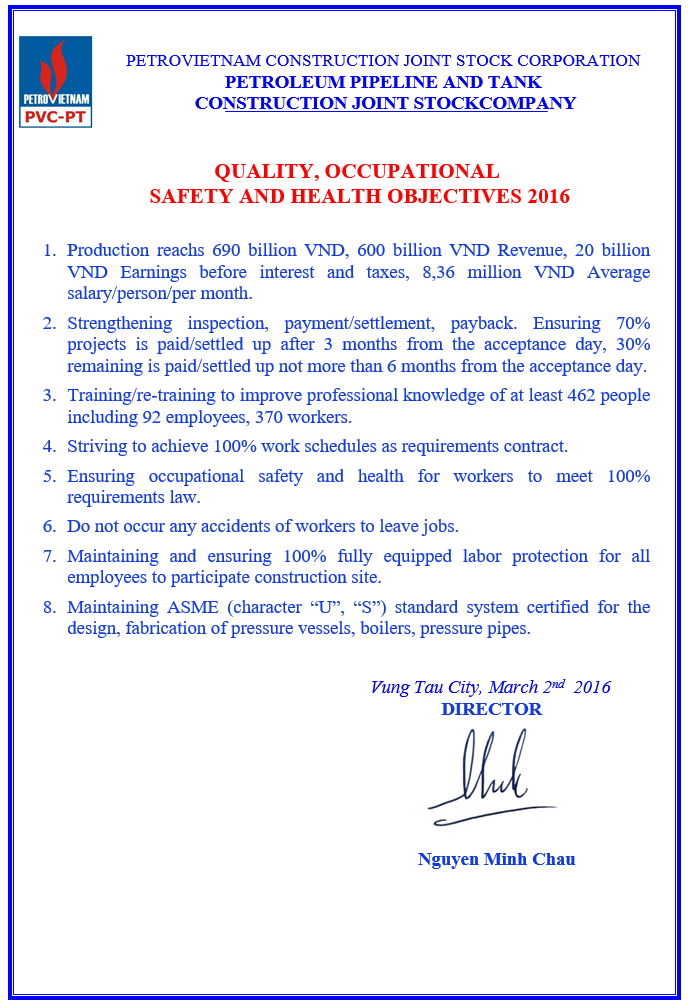 QUALITY, OCCUPATIONAL  SAFETY AND HEALTH OBJECTIVES 2016