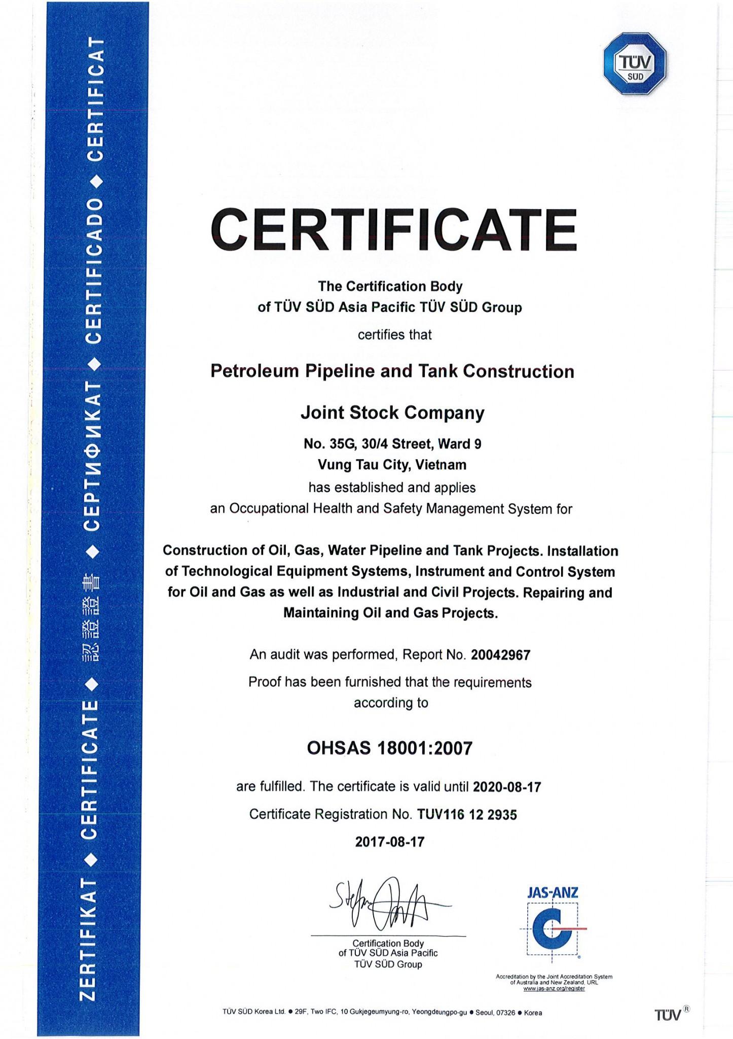 CERTIFICATE OHSAS 18001_PETROLEUM